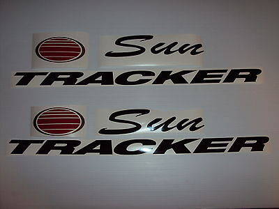 2 - 21 inch Sun tracker Pontoon suntracker boat decals with chrome and red sun