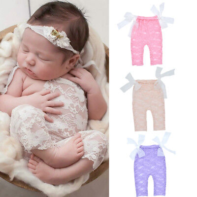 Newborn Infant Baby Girl Photography Props Lace Bow Bodysuit Romper Photo Shoot
