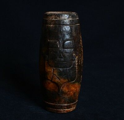 Chinese HongShan Style Carved God Man Pattern Large Jade Tube Carving-JR12672