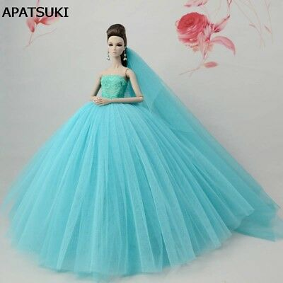 "Blue Green Doll Dresses Evening Gown Clothes Wedding Dress For 11.5"" Doll +Veil"