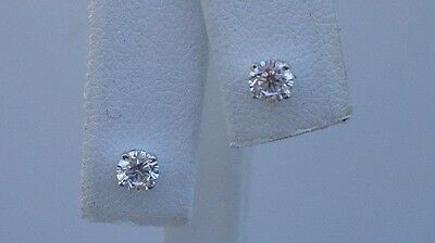 14K Solid White Gold Stud Earrings .50 Ct Round Lab Diamonds / Stunning Look!!!