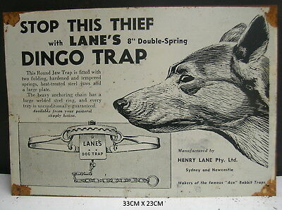 Dingo Trap Lane's Animal Tin Sign  Free Dvd Free Postage Australia