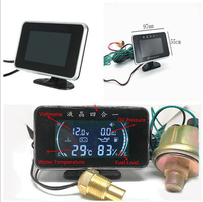 LCD 4 in 1 Car Motorcycle Water Temperature/Oil Pressure/Fuel/Voltage Gauges Set