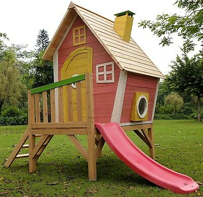 The Crooked Tower Playhouse Raised Wooden Cubby with Slide