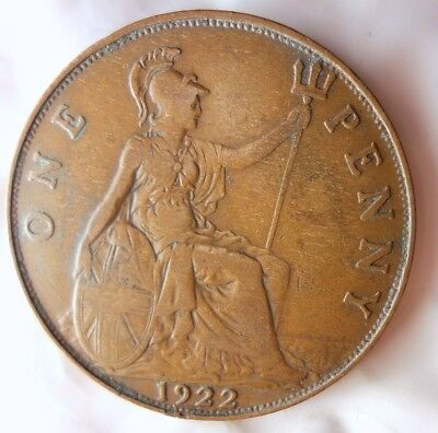 1922 GREAT BRITAIN PENNY - Excellent Coin - Free Ship - Britain Bin #J