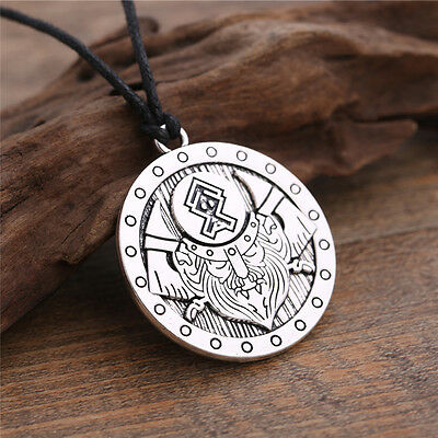 Norse Warrior Battle Axe Shield Viking Pendant Necklace Vintage Gothic Jewelry