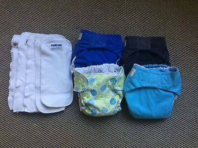 4 x Modern Cloth Nappies Baby Beehind and Green Kids with extra inserts
