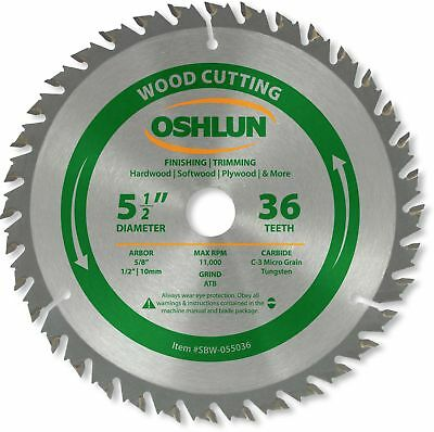 Oshlun SBW-055036 5-1/2-Inch 36 Tooth ATB Finishing and Trimming Saw Blade with