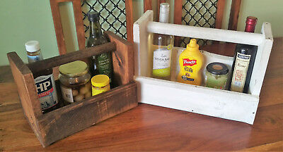 Condiment Caddy - Handmade Wood Sauce, Beer Wine & cutlery Tote Holder W/ Handle