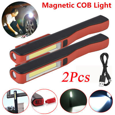COB LED USB Rechargeable Torch Magnetic Work Light Inspection Dry Battery Lamp