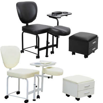 Manicure Table Chair Faux Leather Beauty Tattoo Pedicure Nail Art Station Stool