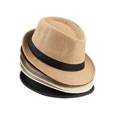 Unisex Fedora Trilby Hat Cap Straw Panama Style Packable Travel Sun Hat AS