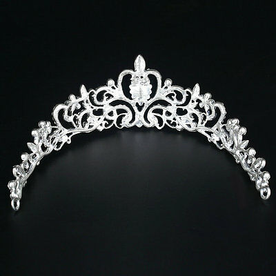 Bridal Princess Austrian Crystal Tiara Wedding Crown Veil Hair Accessory DF