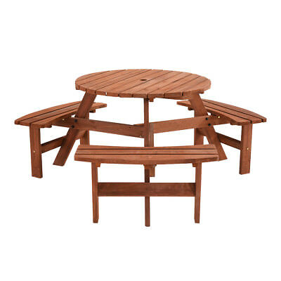 Pub quality wooden round picnicpub bench 6 seater garden picnic pub quality wooden round picnicpub bench 6 seater garden picnic table uk ship watchthetrailerfo