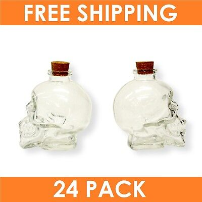 24 x SKULL GLASS JAR DECANTER with Cork Stopper Alcohol Halloween Unique Storage