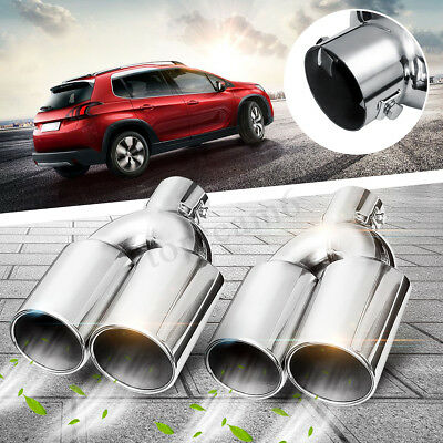 2X 60mm Universal Chrome Stainless Steel Dual Twin Exhaust Muffler Tail Pipe Tip
