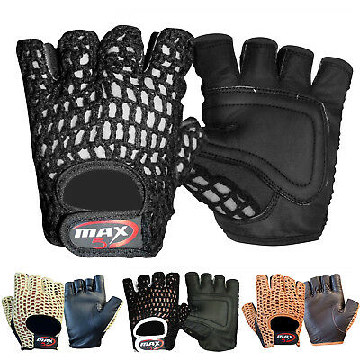 Max5 Mens Real Leather Wheel Chair Cycling Gym Weight Lifting Training Gloves