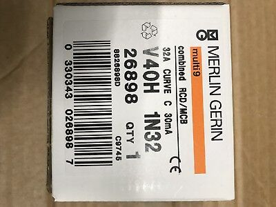 MERLIN GERIN 32 AMP TYPE 2 M9 30 mA DOUBLE POLE RCBO RCD MCB V40H 26898