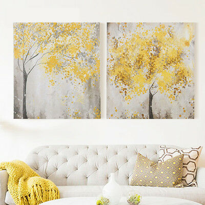 2Pcs Yellow Flowers Blossom Tree Canvas Wall Art Picture Prints Decor Set of 2