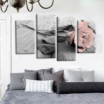 4Pcs Pink Grey White Love Rose Floral Canvas Wall Art Picture Prints Set Decor