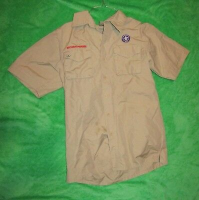 Mens Adult BSA Boy Scouts of America Short Sleeved UNIFORM SHIRT USA Tan Khaki