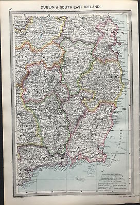 Antique Map DUBLIN & SOUTH EAST IRELAND 1906 Original litho color, detail