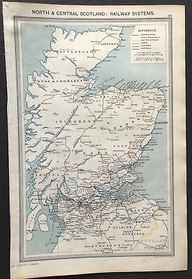Antique Map NORTH & CENTRAL SCOTLAND RAILWAY SYSTEM 1906 Original litho color