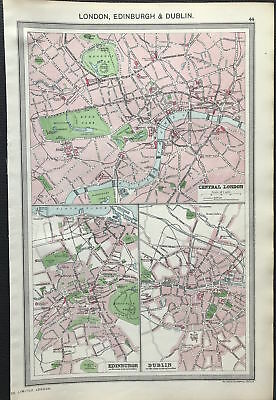 Antique Map LONDON, EDINBURGH & DUBLIN Central City 1906 Original litho color