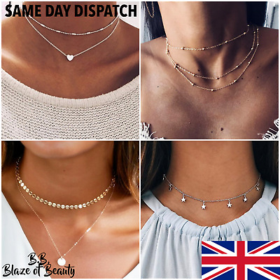 🌟 New Ladies Heart Necklace GOLD SILVER Layered Choker Fashion Chain UK Seller