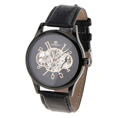 Mens Automatic Watch Stainless Steel Case Leather Band Black Dial Wristwatch