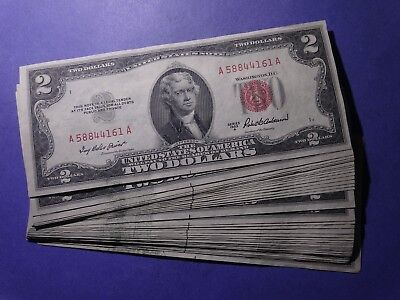 Lot of 39 sequential 1953 A $2 United States Legal Tender Notes AU/CU