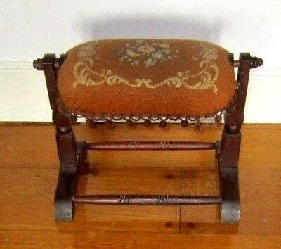 Antique Victorian Walnut Swinging Floral Needlepoint Footstool Rare!!!