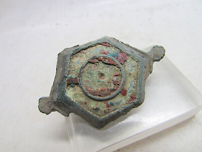 British-Romano Imperial Plate Brooch With Enamel