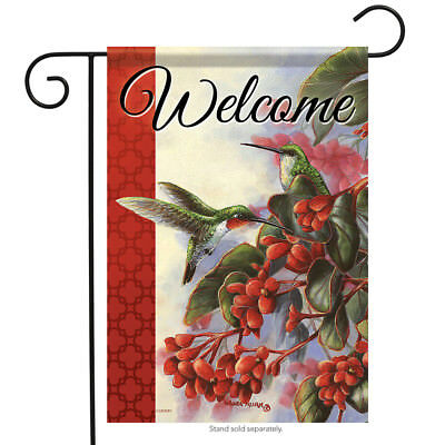 "Ruby Pair Welcome Spring Garden Flag Double Sided Hummingbirds Floral 12.5/""x18/"""