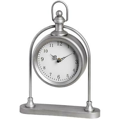 Vintage Style Sitting Mantel Shelf Clock Antique Silver Metal Carriage Watch
