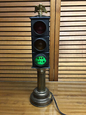 Vintage Bar Lamp Traffic Light Bar Open Closed Last Call Man Cave Stop Light