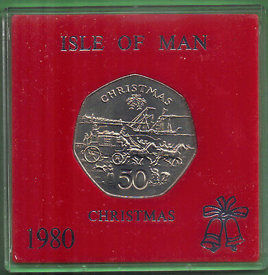 Isle of Man 1980 50p Christmas IOMSP PS Mona's Isle & Mail Coach Unc cased