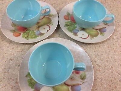Vintage Hollywood Tamco Melmac x 3 Cup Saucer Picnic Plates , Bessemer,Retro 60s