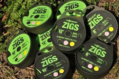 Korda Ready Tied Zig Rigs Barbed or Barbless Various Lengths