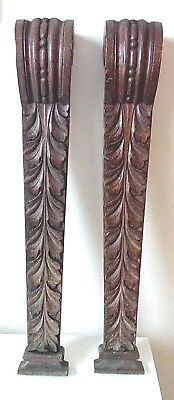 A Pair of Antique Architectural Carved Oak Wood Treasures