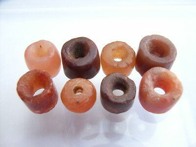 8 Ancient Neolithic Carnelian, Red Jasper Beads, Stone Age, VERY RARE! TOP!