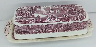 Mason's Vista Pink Red England Ironstone Covered Butter Dish Leaves Landscape