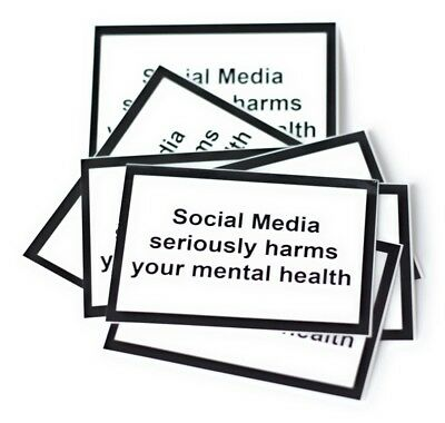 """Social Media seriously harms your mental health""-Sticker (100 pieces)"