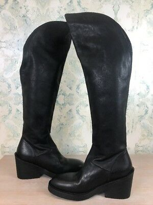 74c0b0100cc NEW Ann Demeulemeester Tall Over The Knee Black Calfskin Leather Full Zip  Boots