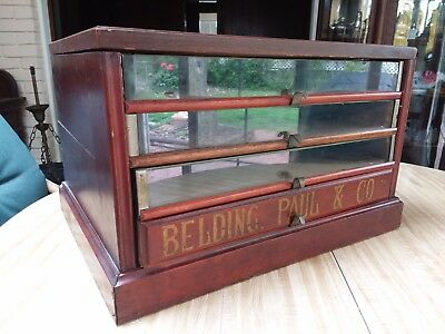 Antique Belding Paul & Co. 4 Drawer Glass Front Sewing Thread Spool Cabinet Old