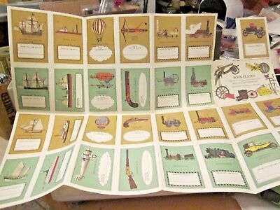Swedish Bookplates to cut out vintage vehicles guns 28 pieces colorful prints