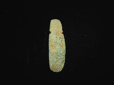 Pre-Columbian Ceremonial Axe God Pendant, Eroded Jade, 100% Authentic