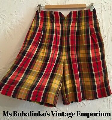 Vintage 90s Checked Plaid High Waist Shorts Size 10