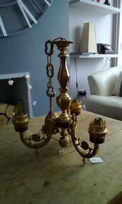 Large Heavy  French Antique  Brass  Ceiling Chandelier Light