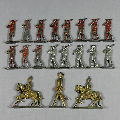 Vintage Toy Soldier Mixed Lot Of 19 Old Military Flat Metal Figures 45mm - 65mm